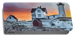 Fiery Sunrise At Cape Neddick Lighthouse Portable Battery Charger