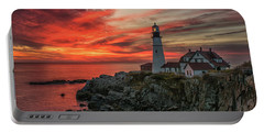 Fiery Sunrise At Portland Head Light Portable Battery Charger