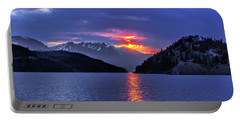 Fiery Sunset At Summit Cove Portable Battery Charger