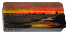 Portable Battery Charger featuring the digital art Fiery Sunset by Mariola Bitner