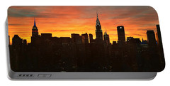 Portable Battery Charger featuring the photograph Fiery Sunset New York With Chrysler And Empire State Buildings by Miriam Danar