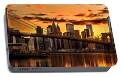 Fiery Sunset Over Manhattan  Portable Battery Charger by Az Jackson