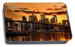 Fiery Sunset Over Manhattan  Portable Battery Charger by Az Jackson