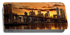 Fiery Sunset Over Manhattan  Portable Battery Charger