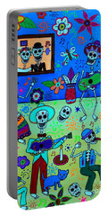 Portable Battery Charger featuring the painting Fiesta Calaveras IIi by Pristine Cartera Turkus