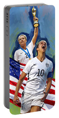 Portable Battery Charger featuring the painting Fifa World Cup U.s Women Soccer Carli Lloyd Abby Wambach Artwork by Sheraz A