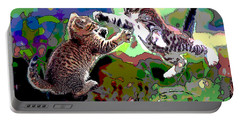 Fighting Cats Portable Battery Charger by Charles Shoup