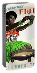 Fiji Restored Vintage Travel Poster Portable Battery Charger