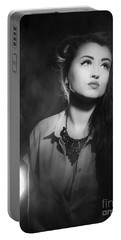 Film Noir Style Woman In Spotlight Portable Battery Charger