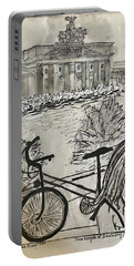 Fina And Bicycle At Brandenburg Gate Portable Battery Charger