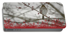 Portable Battery Charger featuring the mixed media Finch Christmas by Trish Tritz