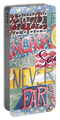 Portable Battery Charger featuring the painting Find Your Anchor by Erin Fickert-Rowland
