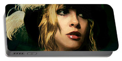 Fine Art Digital Portrait Stevie Nicks Wearing Beret Portable Battery Charger