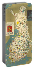 Finland - Suomi - Vintage Illustrated Map Of Finland - Historical Map - Cartography Portable Battery Charger