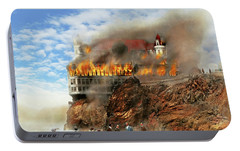 Portable Battery Charger featuring the photograph Fire - Cliffside Fire 1907 by Mike Savad