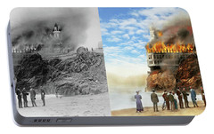 Portable Battery Charger featuring the photograph Fire - Cliffside Fire 1907 - Side By Side by Mike Savad