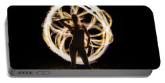 Fire Flower Silhouette Portable Battery Charger