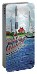 Fire Island Lighthouse And Boats In The Great South Bay Towel Version Portable Battery Charger