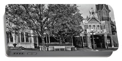 Fire Station Main Street In Black And White Walt Disney World Mp Portable Battery Charger