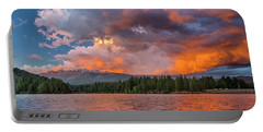 Fire Sunset Over Shasta Portable Battery Charger