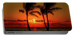 Fire Sunset Through Palms Portable Battery Charger
