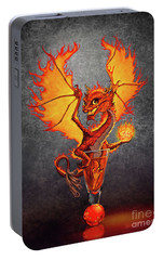 Portable Battery Charger featuring the digital art Fireball Dragon by Stanley Morrison