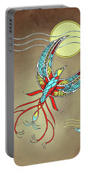 Portable Battery Charger featuring the mixed media Firebird With Sun And Moon by Deborah Smith