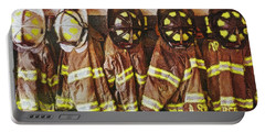 Portable Battery Charger featuring the painting Firefighters Uniforms by Joan Reese