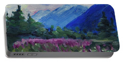 Portable Battery Charger featuring the painting Fireweed At Outer Point Alaska by Yulia Kazansky