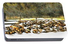 Portable Battery Charger featuring the photograph  Floyd Snyder by Firewood in the Snow at Fort Tejon