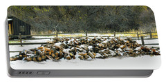 Portable Battery Charger featuring the photograph Firewood In The Snow At Fort Tejon by Floyd Snyder
