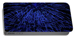 Firework Blues Portable Battery Charger by DigiArt Diaries by Vicky B Fuller