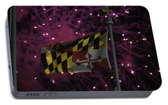 Portable Battery Charger featuring the photograph Fireworks And The Maryland Flag by Robert Banach