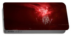 Fireworks In Red And White Portable Battery Charger