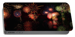 Fireworks Reflection In Water Panorama Portable Battery Charger