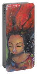 Firey Hair Girl Portable Battery Charger by Prerna Poojara