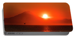 Firey Sunset On Mt Redoubt Volcano Alaska Portable Battery Charger