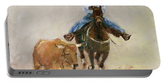 First Bulldogger Bill Picket Oil Painting By Kmcelwaine  Portable Battery Charger