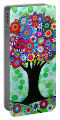 Portable Battery Charger featuring the painting First Day Of Spring by Pristine Cartera Turkus