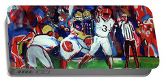 Portable Battery Charger featuring the painting First Down by John Jr Gholson