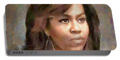 First Lady Michelle Obama Portable Battery Charger by Wayne Pascall