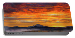 First Light On Mount Hood During Sunrise Portable Battery Charger