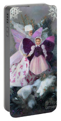 Portable Battery Charger featuring the painting First Snow by Nancy Lee Moran