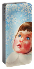 Portable Battery Charger featuring the painting First Snowfall by Marilyn Jacobson