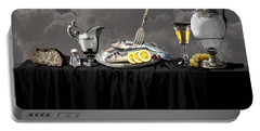 Portable Battery Charger featuring the digital art Fish Diner In Silver by Alexa Szlavics