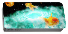 Portable Battery Charger featuring the digital art Zen Fish Dream by Olga Hamilton
