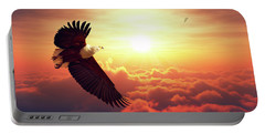 Fish Eagle Flying Above Clouds Portable Battery Charger