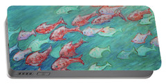 Portable Battery Charger featuring the painting Fish In Abundance by Xueling Zou