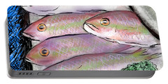 Portable Battery Charger featuring the digital art Fish Market by Jean Pacheco Ravinski
