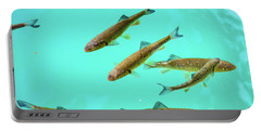 Fish School In Turquoise Lake - Plitvice Lakes National Park, Croatia Portable Battery Charger